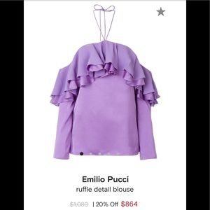 EMILIO PUCCI Off-the-shoulder ruffled satin  crepe